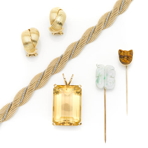 A group of citrine, jade, tiger's eye, gold and metal jewelry