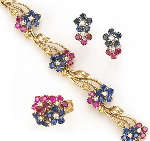 A pink and blue sapphire and diamond Hawaii bracelet together with a matching ring, Van Cleef & Arpels, accompanied by a coordinating pair of fourteen karat gold earrings