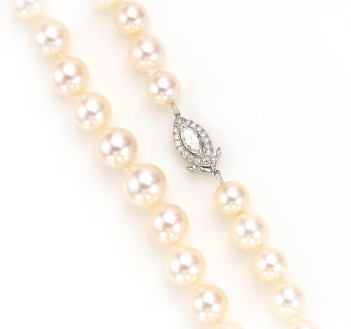 A cultured pearl and diamond necklace, Tiffany & Co.