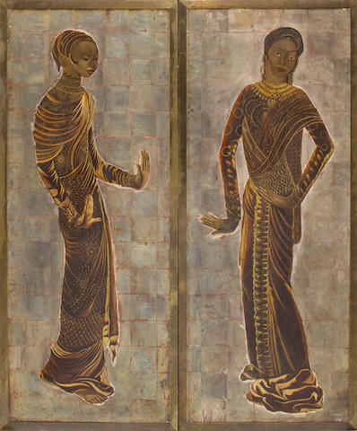 A pair of Jean Dunand silver-leaf and lacquered-wood panels Women of Asia (variant), circa 1931