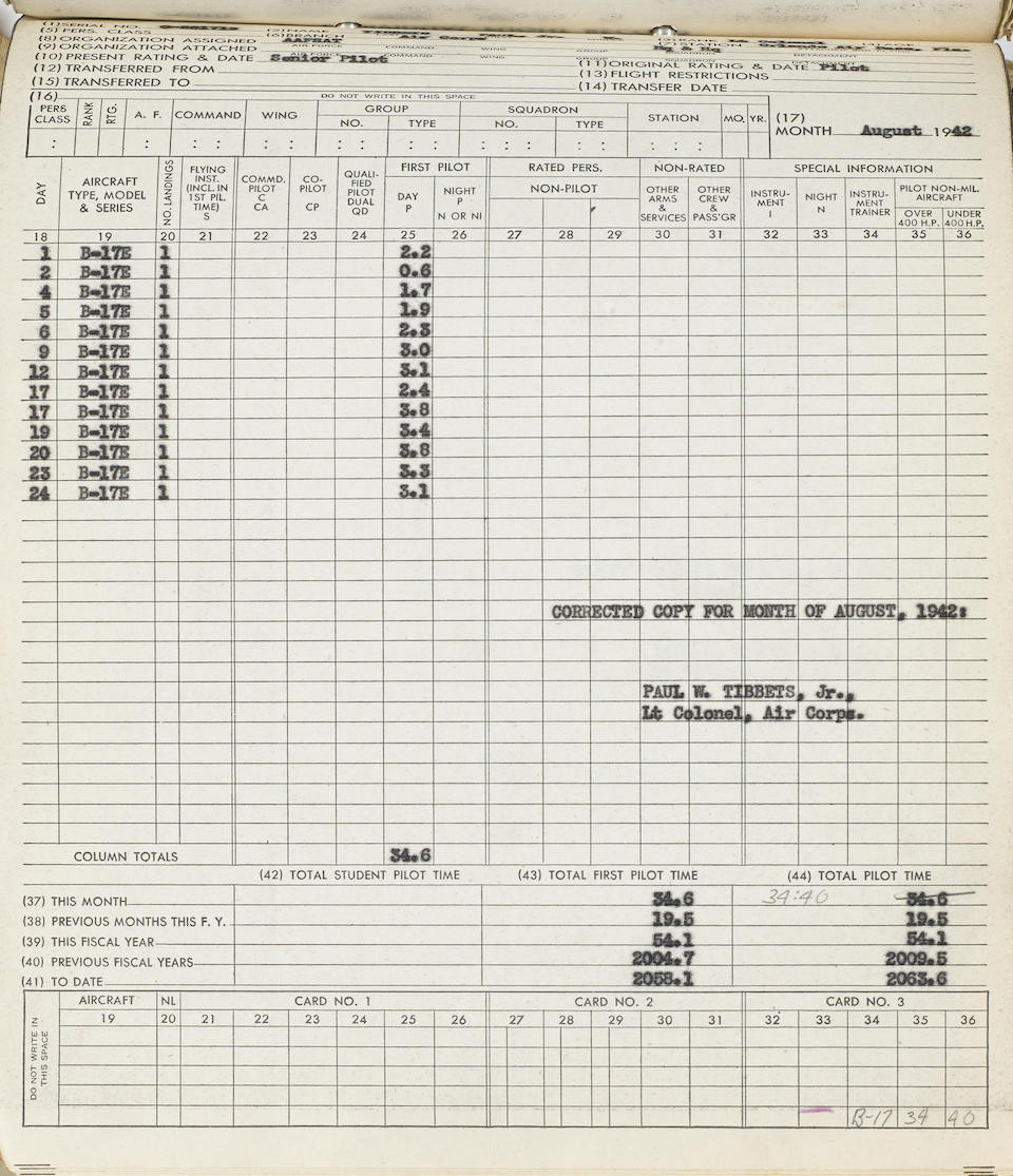 """Flight log of Brigadier General Paul W. Tibbets, pilot of the Enola Gay Typed Carbon Signed (""""Paul W. Tibbets, Jr."""") 10 times, 518 pp recto and verso, legal folio and 4to,"""