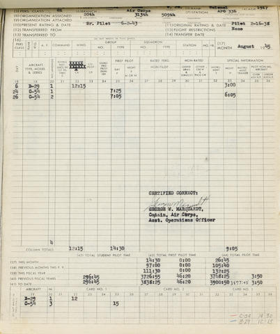 "Flight log of Brigadier General Paul W. Tibbets, pilot of the Enola Gay Typed Carbon Signed (""Paul W. Tibbets, Jr."") 10 times, 518 pp recto and verso, legal folio and 4to,"