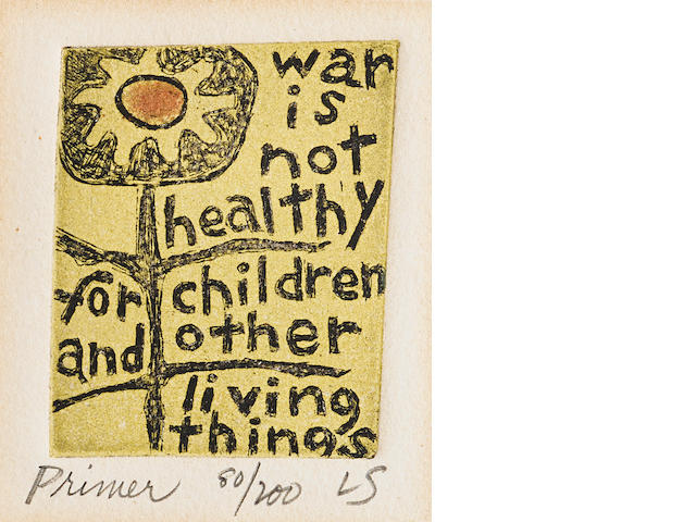 "SCHNEIDER, LORRAINE. 1925-1972.  Etched print, Primer (""War is not healthy for children and other living things""), 2 x 2 inches, 1966,"