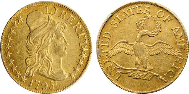 1795 Small Eagle $5 AU58 PCGS