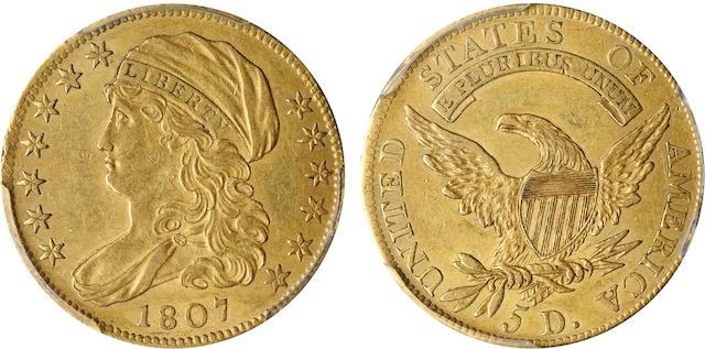 1807 Capped Bust Left $5 AU58 PCGS