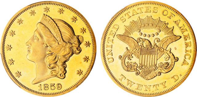 1859 $20 Proof 62+ Cameo PCGS