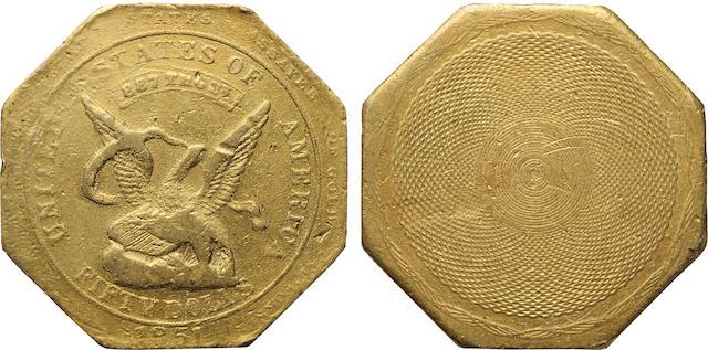 1851 Augustus Humbert $50 887 THOUS., Reeded Edge
