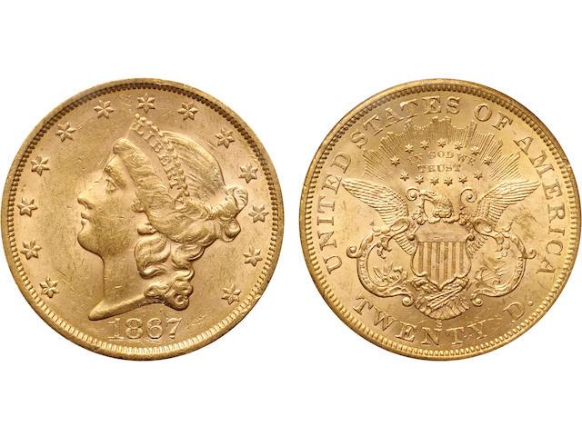 1867-S $20 AU58 PCGS