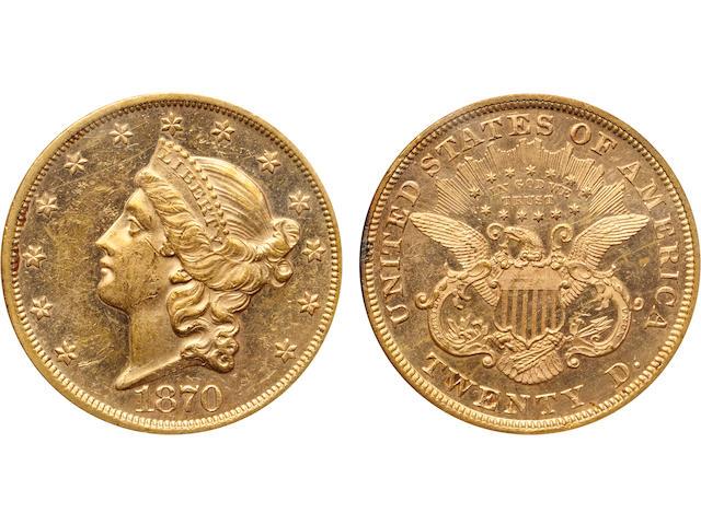 1870 $20 MS61 PCGS
