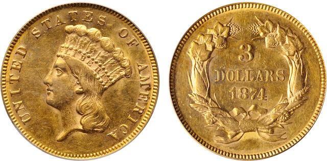 1874 $3 AU58 PCGS