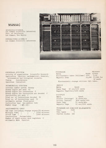 BALLISTIC RESEARCH LABORATORY SURVEYS. WEIK, MARTIN H., editor. A Survey [-Fourth Survey] of Domestic Electronic Digital Computing Systems. Aberdeen Proving Ground, MD: December 1955; June 1957; March 1961; and January 1964.