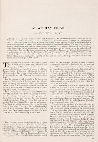 """BUSH, VANNEVAR. 1890-1974. """"As We May Think."""" Pp 101-108. IN: The Atlantic."""