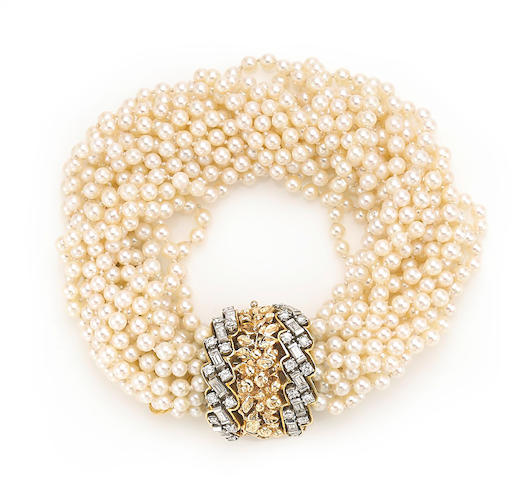 A cultured pearl and diamond bracelet, Seaman Schepps