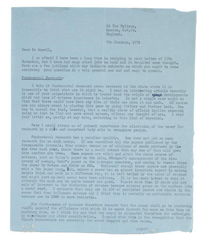 "BRAGG, WILLIAM LAWRENCE. 1890-1971. Typed Letter Signed (""W.L. Bragg""),"