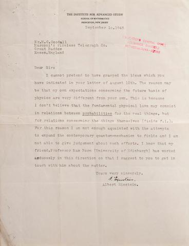 """EINSTEIN, ALBERT. 1879-1955. Typed Letter Signed (""""A. Einstein""""), in English, 1p, 4to, Princeton, N.J., September 10, 1945,"""