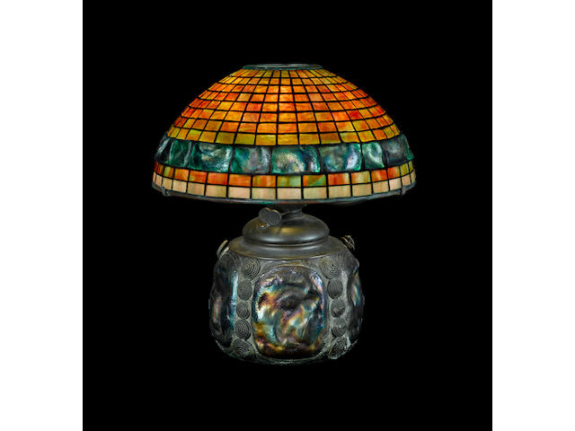 An early experimental Tiffany Studios Favrile glass Banded Turtleback Tile Geometric oil lamp 1899-1918