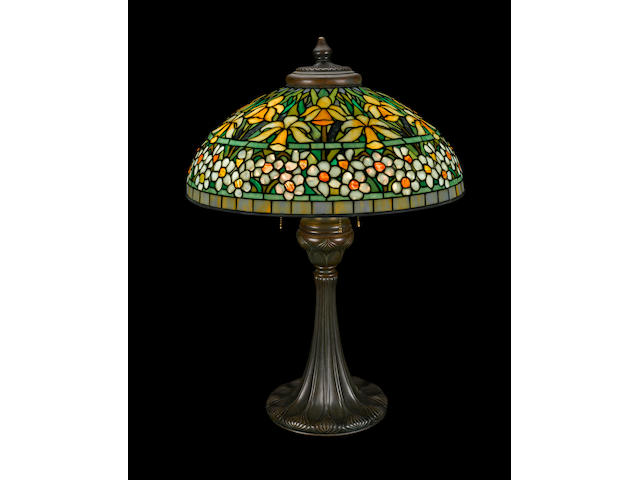 A Tiffany Studios Favrile glass and patinated bronze Jonquil Narcissus table lamp 1899-1918