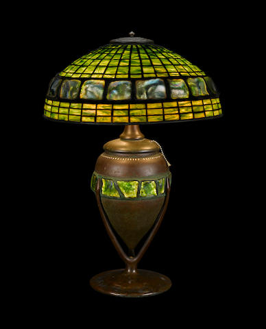 A Tiffany Studios Turtleback Tile, Favrile glass and patinated bronze Banded Turtleback Tile table lamp 1899-1918