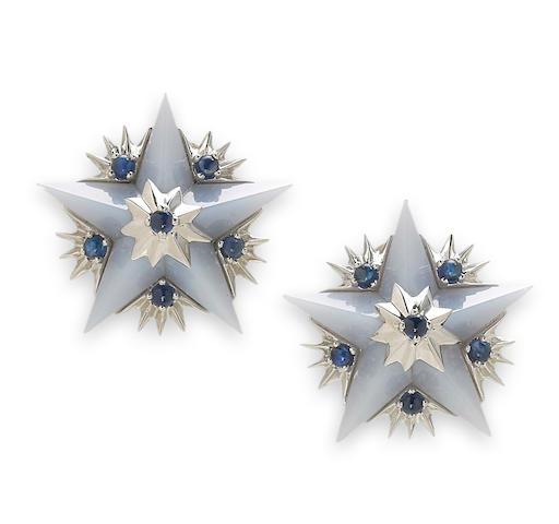 A pair of chalcedony and sapphire star earclips, Jean Schlumberger, Tiffany & Co.