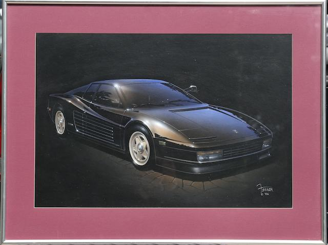 Ferron: painting of a 1986 Ferrari Testa Rossa,