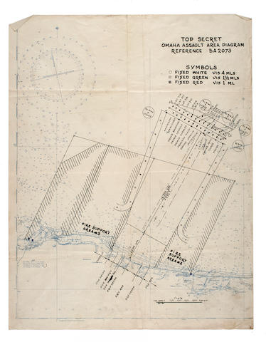 D-Day; Omaha Beach Landing Plans. Undated, actioned 6:30 am June 6, 1944