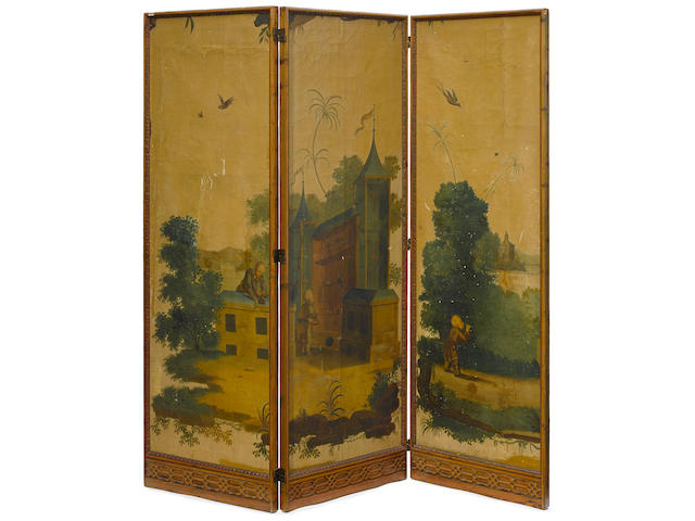 A George III paint decorated and carved pine three fold floor screen