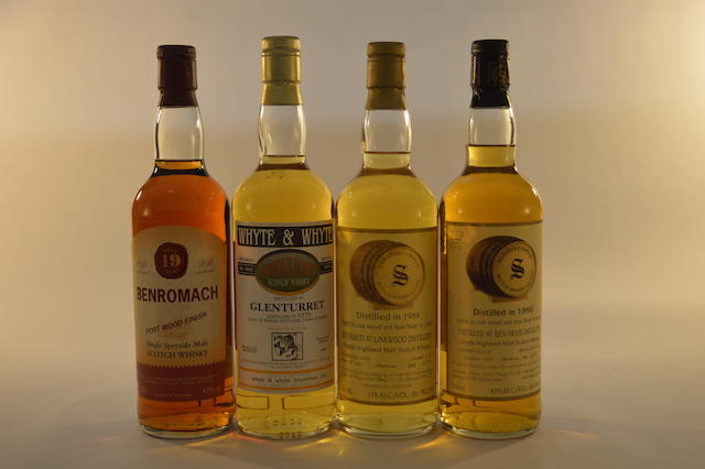 Benromach 1984- 19 years old (1) Ben Nevis 1990- 9 years old (1) Glenturret 1979- 15 years old (1) Linkwood 1984- 11 years old (1)