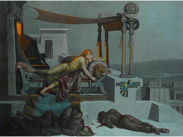 Continental School, 20th Century An Egyptian nobleman reclining on his daybed with slain slaves at his feet 93 1/4 x 71 1/4in unframed