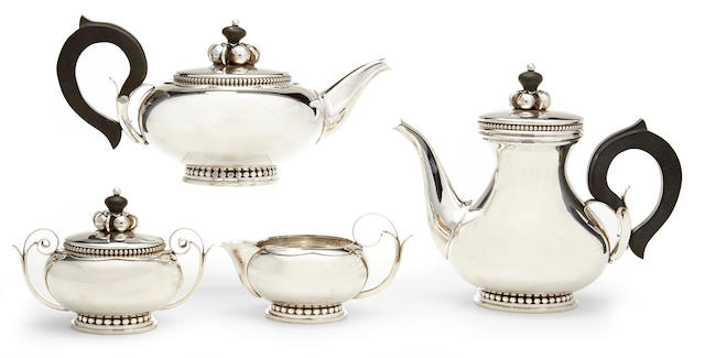 An American  sterling silver four-piece Modernist tea and coffee service designed by Alphonse LaPaglia for International Silver Co., Meriden, CT,  mid-20th century