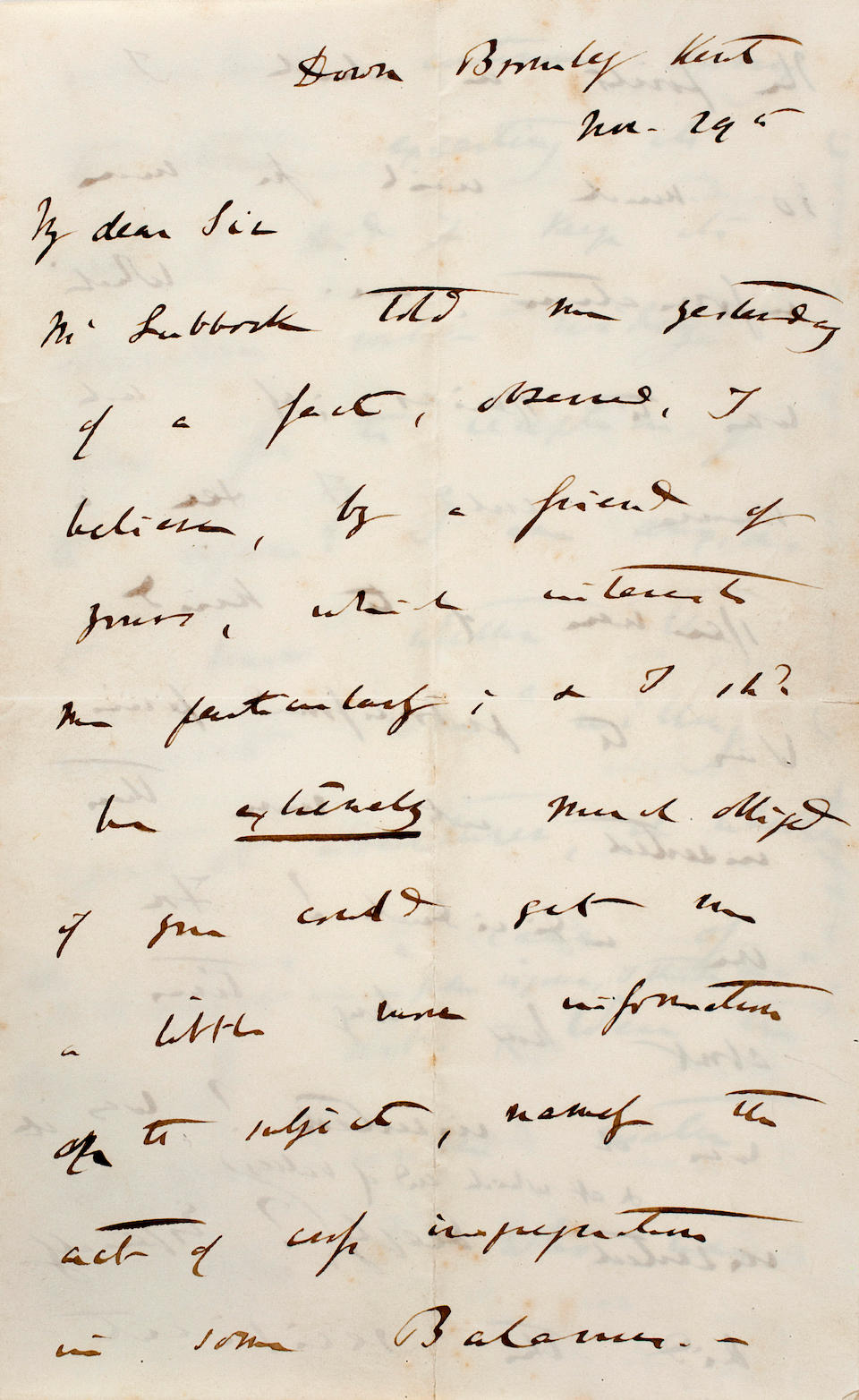 """DARWIN, CHARLES. 1809-1882. Autograph Letter Signed (""""C. Darwin""""),"""