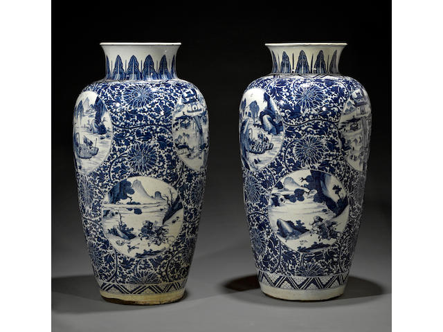 Two massive blue and white ovoid jars Kangxi