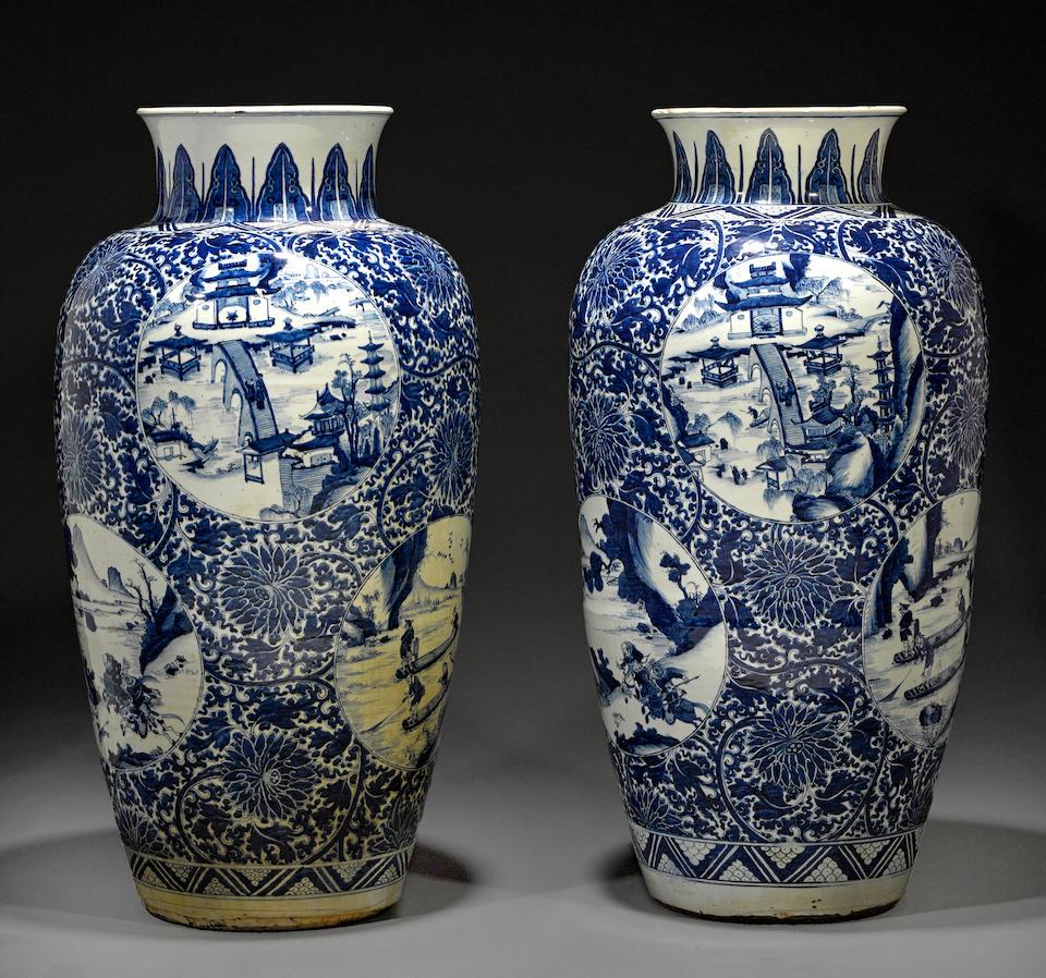 Two massive blue and white ovoid jars Kangxi