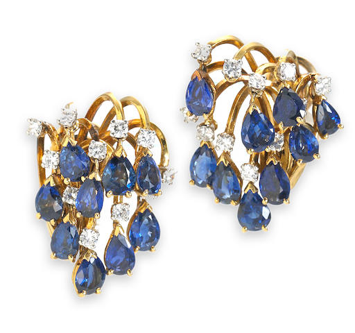 A pair of sapphire and diamond spray earclips, Marchak, Paris