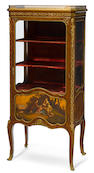 A good quality French gilt bronze mounted and Vernis Martin decorated mahogany vitrine Soubrier, Paris late 19th century