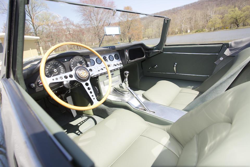 <i>The 91st left-drive E-Type built, external bonnet lock, flat floor</i><br /><b>1961 Jaguar E-Type Series 1 3.8-Liter Roadster </b><br />Chassis no. 875091 <br />Engine no. R1073-9