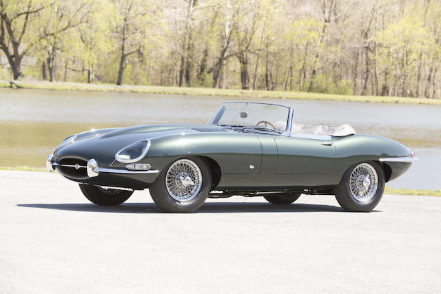 <i>The 91st left-drive E-Type built, external bonnet lock, flat floor</i><br /><b>1961 Jaguar E-Type Series 1 3.8-Liter Roadster </b><br />Chassis no. 875091 <br />Engine no. R1073-9