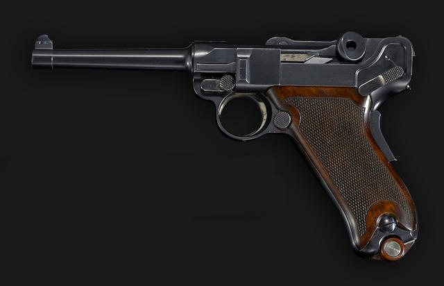 An 1899/1900 Swiss Military Test Model parabellum pistol