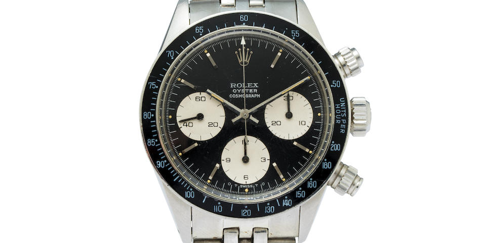 Rolex. A fine stainless steel chronograph wristwatch and braceletOyster Cosmograph, Ref:6263, Case No.3731699, 1970's