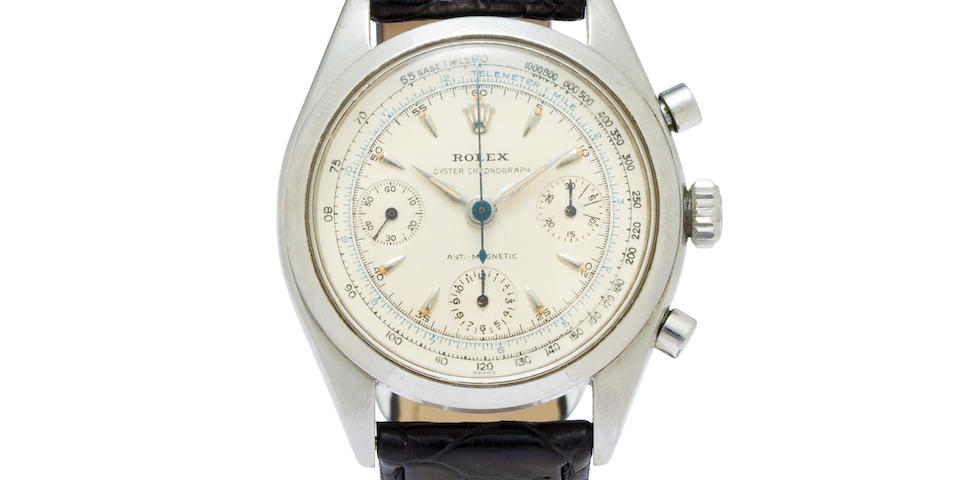 Rolex. A fine stainless steel chronograph wristwatchOyster Chronograph Anti-Magnetic, Ref:6234, Case No.530063, 1950's