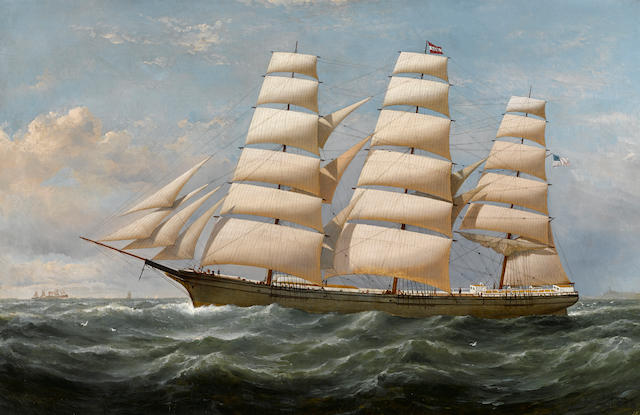 """Samuel Walters (British, 1811-1882) The American clipper ship """"Llewellyn F. Morse"""" Bound for New Orleans 25 x 39 in. (63.5 x 99 cm.)"""