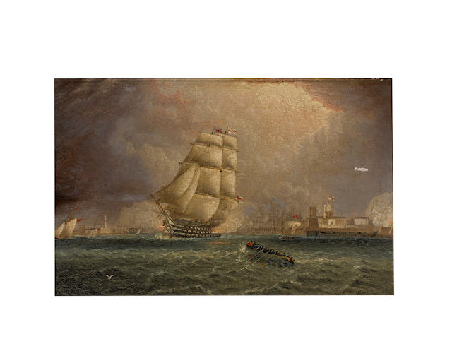 James Edward Buttersworth (British/American, 1817-1894) A British ship of the line firing a salute while departing Portsmouth Harbour 8-1/2 x 13-1/2 in. (21.5 x 34.2 cm.)