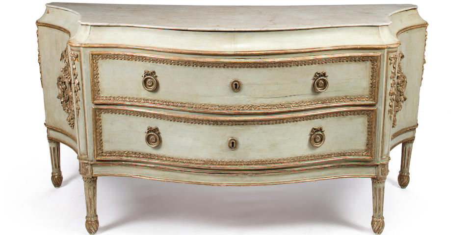 An Italian Neoclassical blue painted and silver gilt commode probably Venice, fourth quarter 18th century
