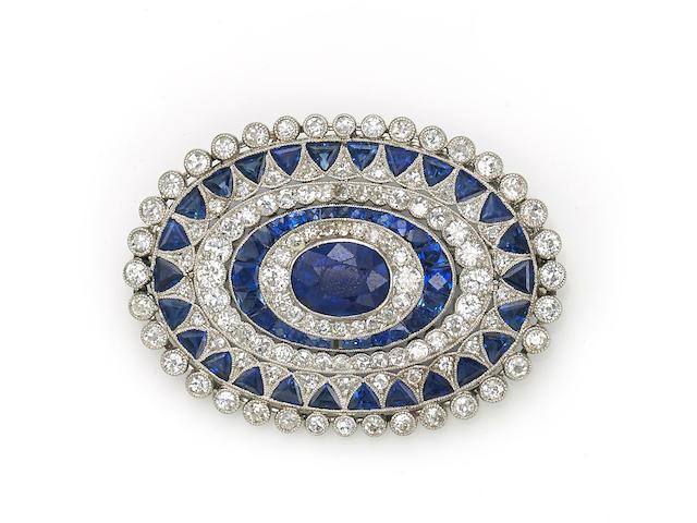 An art deco sapphire and diamond brooch,
