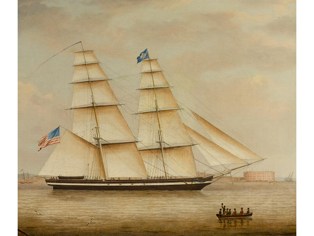 Attributed to James Fulton Pringle (American, 1788-1847) An American revenue cutter in New York harbor 24-1/2 x 29-1/4 in. (62.2 x 74.2 cm.)