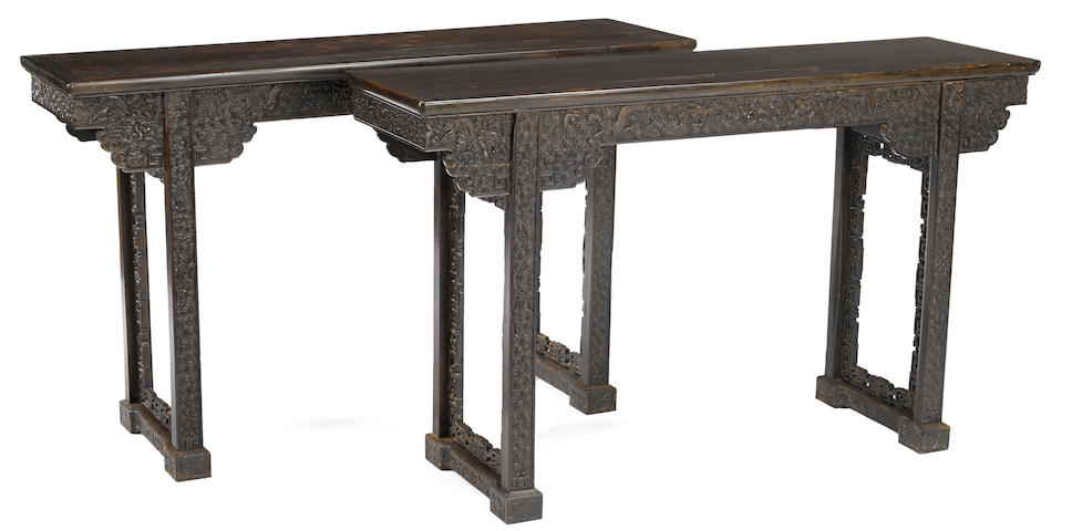 A pair of zitan veneer altar tables