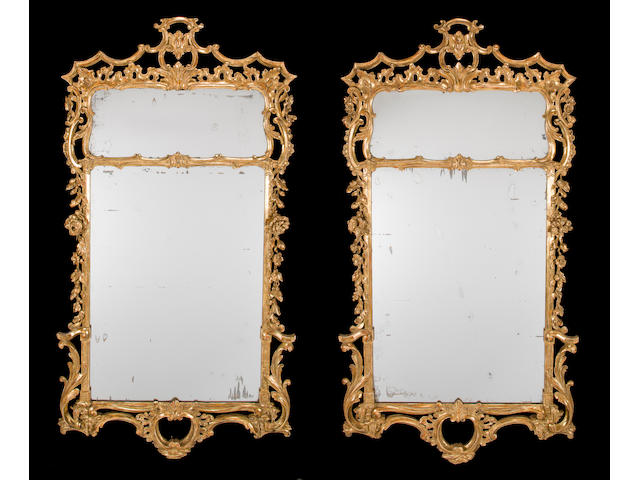 A fine pair of George III giltwood mirrors possibly Irish, third quarter 18th century