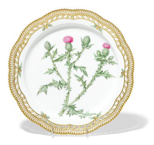 A Royal Copenhagen Flora Danica porcelain platter mark for 1894-1900