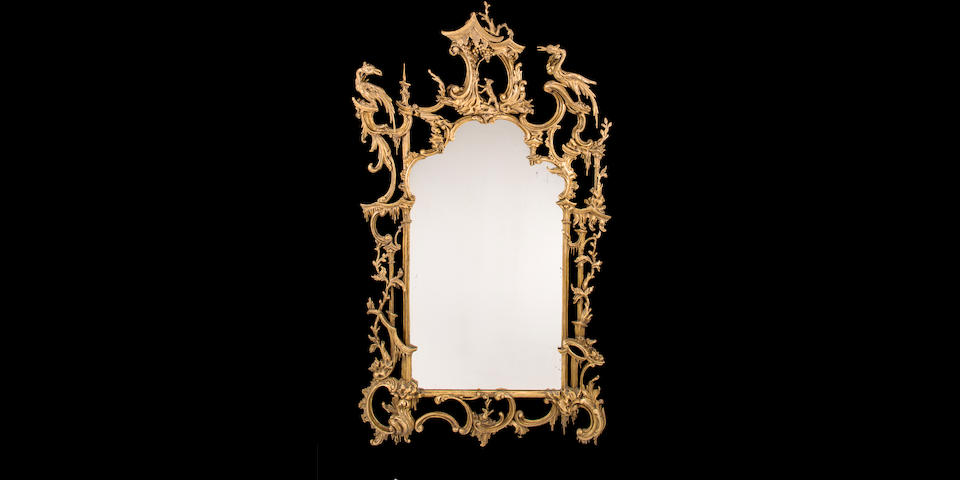 A George III carved and giltwood pier mirror attributed to Thomas Johnson, third quarter 18th century