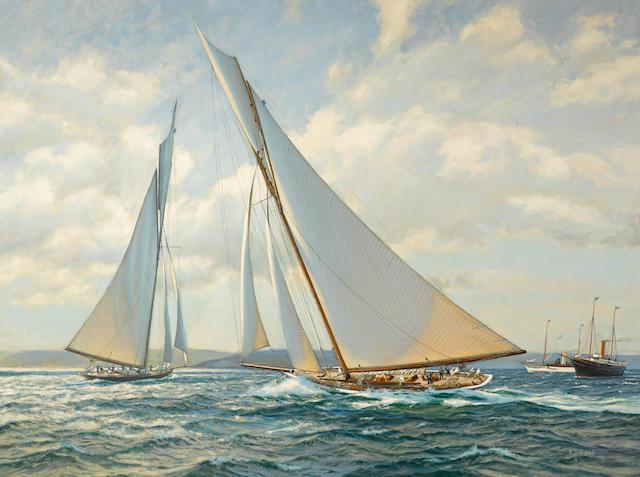 Anthony D. Blake (born New Zealand 1951) Shamrock II tacks just ahead of Columbia 36 x 48 in. (91.4 x 121.9 cm.)
