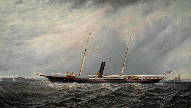 Elisha Taylor Baker (American, 1827-1890) The yacht Stranger of the New York Yacht Club off Execution Lighthouse 24 x 42 in. (60.9 x 106.6 cm.)